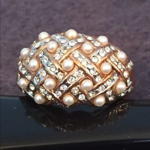 Jewelry - Pearl, CZ and Gold Tone Woven Ring
